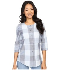 Pendleton Petite Malena Shirt Blue Large Check Women's Long Sleeve Button Up