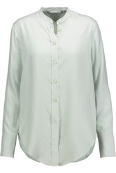 Helmut Lang Pinstriped Washed Silk Shirt Mint