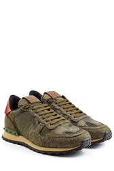 Valentino Rockstud Felt And Leather Sneakers Green