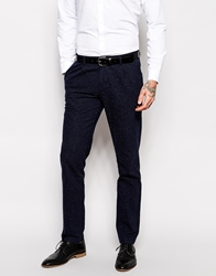 Sisley Slim Fit Suit Trousers With Nep Navy