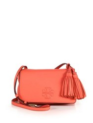 Tory Burch Thea Mini Leather Tassel Crossbody Bag Tidal Wave Bark Black Spiced Coral