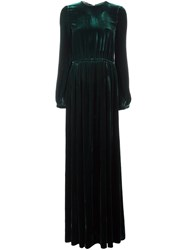 Rochas Long Velvet Gown Green