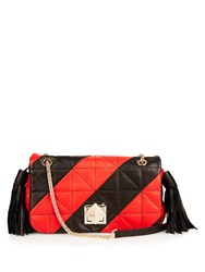Sonia Rykiel Le Clou Quilted Leather Shoulder Bag Black Red