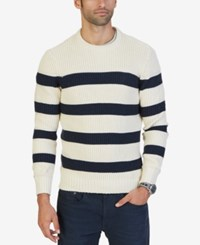 Nautica Men's Breton Striped Crew Neck Sweater Bone White