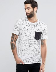 Only And Sons T Shirt With All Over Print Contrast Pocket White