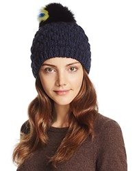 Helene Berman Knit Beanie With Fox Fur Pom Pom Navy Multi