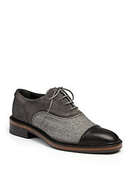 Lanvin Leather Suede And Felt Oxfords Grey