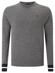 Fred Perry Textured Yarn Pique Crew Neck Jumper Grey