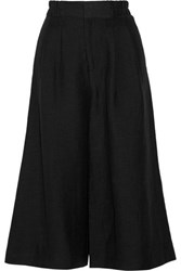 Apiece Apart Taiyana Cropped Woven Wide Leg Pants Black