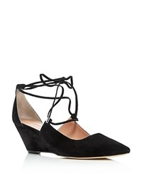 Sigerson Morrison Wynne Lace Up Demi Wedge Pumps Black