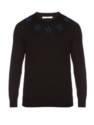 Givenchy Star Applique Crew Neck Wool Sweater Black
