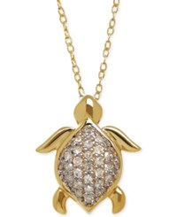 Macy's Diamond Turtle Pendant Necklace 1 10 Ct. T.W. In 10K Gold