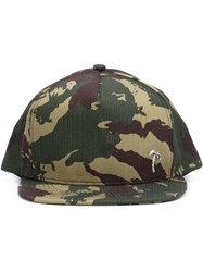 Saint Laurent Camouflage Print Cap Green