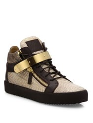 Giuseppe Zanotti Snake Embossed Leather High Top Sneakers