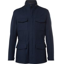 Ermenegildo Zegna Water Resistant Trofeo Wool And Cashmere Blend Jacket Navy