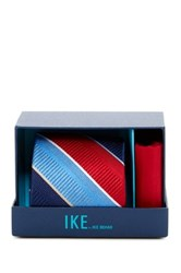 Ike Behar Large Texture Stripe Silk Tie And Handkerchief Red