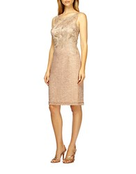 Kay Unger Lace Embroidered Tweed Shift Dress Tan Multi