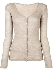 Alexander Wang T By Fine Knit Cardigan Nude And Neutrals