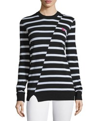 Mcq By Alexander Mcqueen Striped Wool Crewneck Sweater Black White Black White Strip