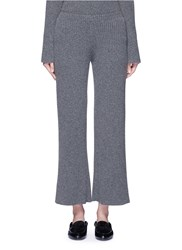 The Row 'Latone' Cashmere Rib Knit Flare Pants Grey