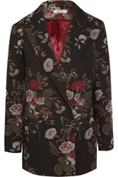 Ganni Double Breasted Cotton Blend Floral Brocade Blazer Black