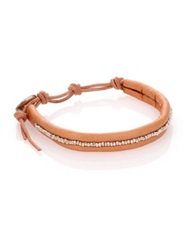 Chan Luu Sterling Silver And Leather Beaded Wrap Bracelet Silver Tan