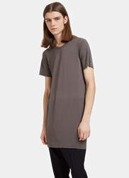 Rick Owens Basic Long Slim Short Sleeved T Shirt Grey