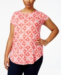 Alfani Plus Size Cap Sleeve Printed T Shirt Only At Macy's Ethnic Weave