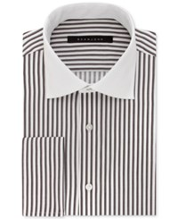 Sean John Men's Fitted Tailored Cut Brown Stripe Dress Shirt