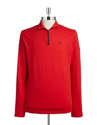 Victorinox Long Sleeved Troyer Shirt Ribbon Red