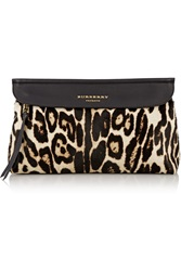 Burberry Leopard Print Calf Hair And Leather Clutch