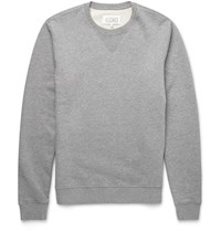 Maison Martin Margiela Leather Elbow Patch Cotton Sweatshirt Gray