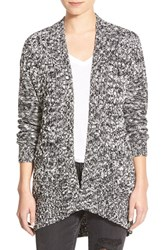 Junior Women's Bp. Cable Front Marled Cardigan Black