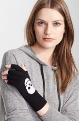Autumn Cashmere Skull Fingerless Cashmere Gloves Black White