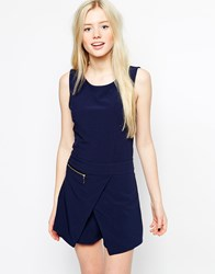 Wal G Skort Playsuit With Zip Detail Navy