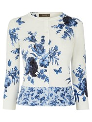 Oasis Floral Chintz Crew Neck Cardigan Off White