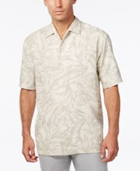 Tommy Bahama Men's Cayo Palms Floral Print Silk Short Sleeve Shirt Bright White