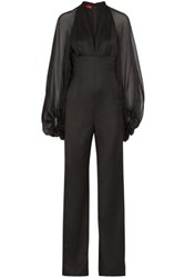 Tamara Mellon Lace And Chiffon Paneled Wool Blend Jumpsuit Black
