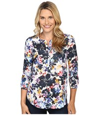 Nydj 3 4 Sleeve Pleat Back Hepburn Shadow Floral Black Women's Blouse Multi
