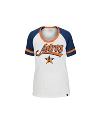 5Th And Ocean Women's Houston Astros Athletic Foil T Shirt White Orange