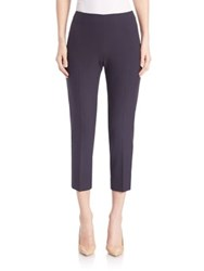 Peserico Solid Cropped Crepe Pants Navy