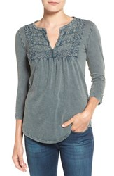 Lucky Brand Women's Lace Yoke Split Neck Cotton Top