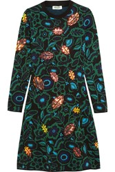 Kenzo Shadow Flower Appliqued Intarsia Wool Blend Dress