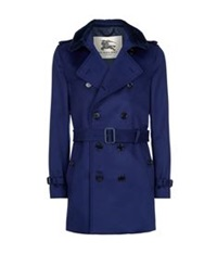 Burberry The Kensington Shearling Collar Cashmere Heritage Trench Coat Cobalt