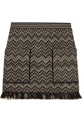 Missoni Wool Blend Crochet Knit Mini Skirt Black
