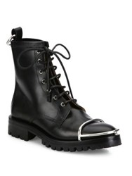 Alexander Wang Lyndon Metal Cap Toe Leather Booties Black