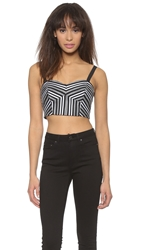 Milly Striped Mitered Bustier Black