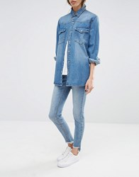 Noisy May Eve Low Rise Super Skinny Jeans With Uneven Raw Hem Medium Blue Denim