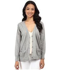 525 America Mixed Texture Two Color Cardigan Heather Grey Combo Women's Sweater Black