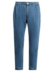 Etudes Archives Mid Rise Tapered Leg Cotton Jeans Light Blue